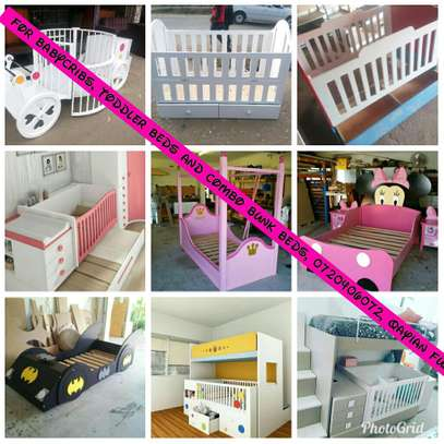 Baby cribs, bunk beds, toddler beds and combo-bunks.