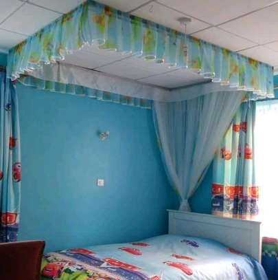 Brand new custom made Rail shears mosquito nets sliding like curtains fixed on the ceiling image 1