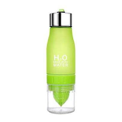 Lemon Cup Bottle H2O Drink More Water Drinking Bike Bottle - Green image 1