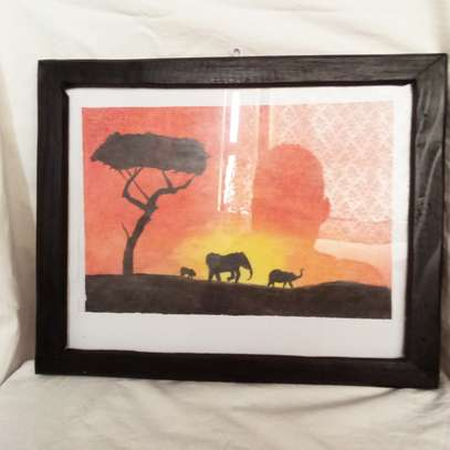 Elephant and Calf at Sunset Painting image 2