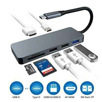 USB-C To HDMI +2 USB 3.0 + SD/TF + RJ45 + PD Charging Converter-7 In 1 image 7