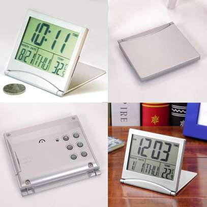 Mini Folding LCD Digital Alarm Clock Desk Table Weather Station Desk Temperature Portable Travel Alarm Clock image 6