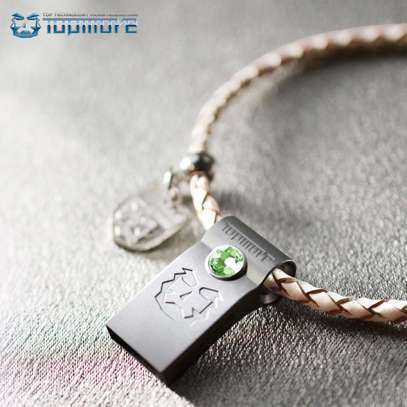 Flash Disk 32GB Swarovski Crystal Blue Chip 10X Faster Decorated with Leather Braided image 3