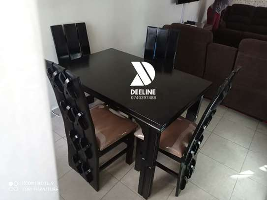Black 4 Seater Dining Table. image 3