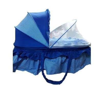 Small Height Baby Bassinet/Sleeping Nest/ Cot/ Mosquito Net - Blue image 1