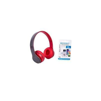 P47 Foldable Bluetooth Headphones + Free 8GB SD Card image 1