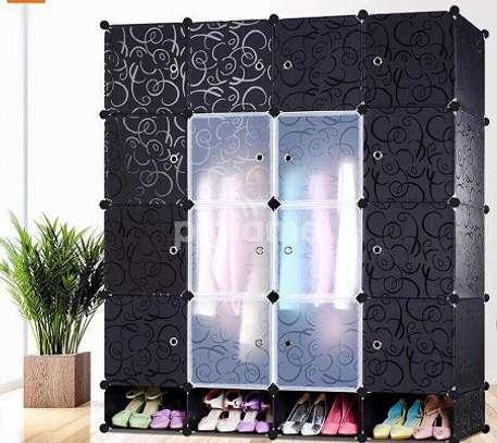 4 Column Plastic Wardrobe - Black image 1