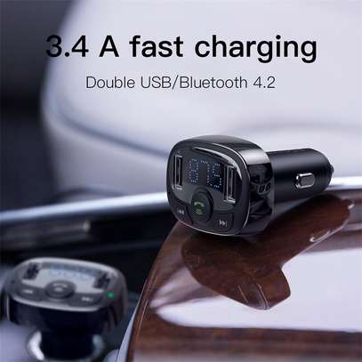 Baseus Dual USB 3.4A Car Charger MP3 Audio Player FM Transmitter Handsfree Aux Modulator Mobile Phone Charger image 5