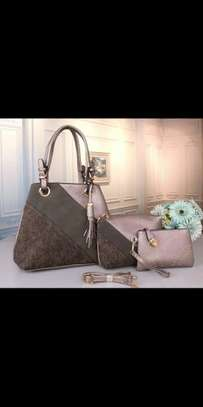 3 Pieces Leather With Lace Ladies Handbag image 1