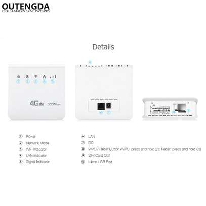 Unlocked 300mbps Wifi Router 4g Wifi Mobile LTE CPE Routers With LAN image 3