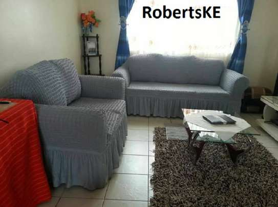 Durable dark grey stretchable sofa cover 7seater image 2