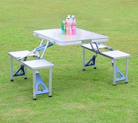 Garden/picnic foldable table with intact seats image 1