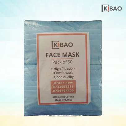 50 disposable face mask with nose clip image 4