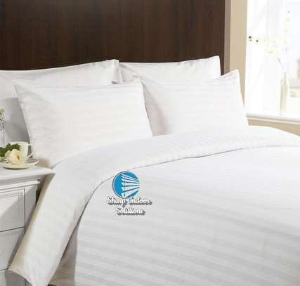 Stripped white cotton duvet covers image 3