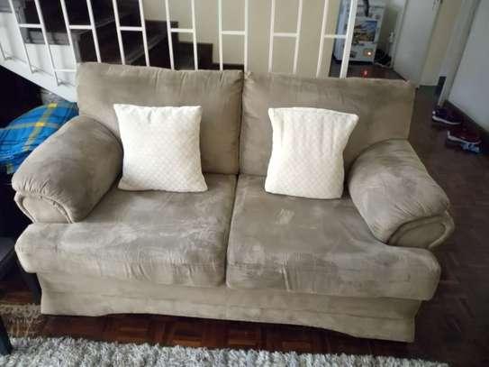 6 seater brown suede sofa set image 1