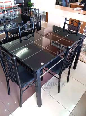Outdoor and indoor dining set with four chairs B23K image 1