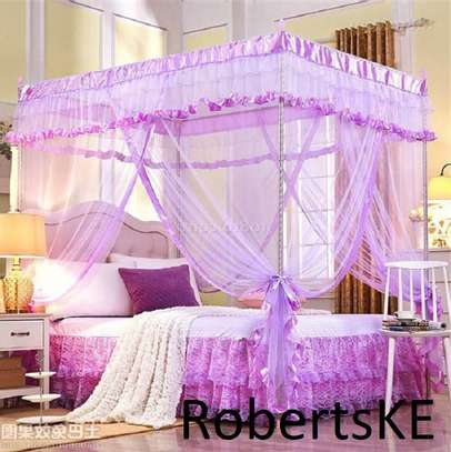 purple four stand mosquito net image 1