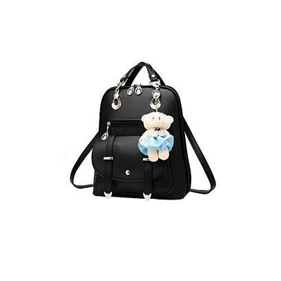 Bagsdiva Women's Casual Backpack Concise Preppy Style PU Leather Shoulder Bag with Bear Pendant,Black image 9