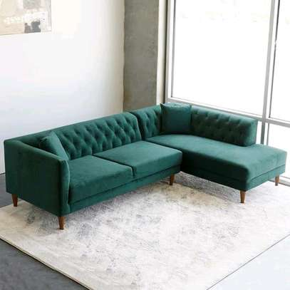 Five seater green L shaped chesterfield sofas for sale in Nairobi Kenya/Wooden sofas/Latest chesterfield sofas for sale in Nairobi Kenya image 1