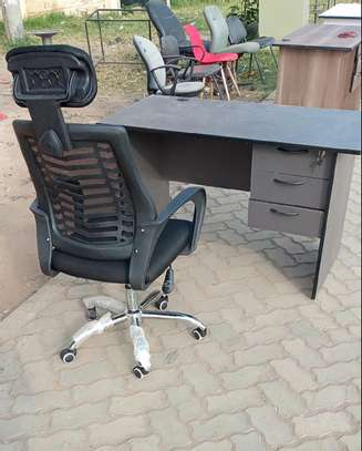 Office table ceo manager and high back headrest chair image 1
