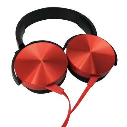 Super Bass Wired Headphones with Bass Booster-Red image 2
