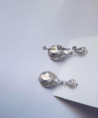 Tear Drop Style Silver Plated Earrings image 1