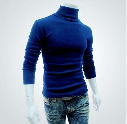 Red& Royalnavyblue turtle neck image 1