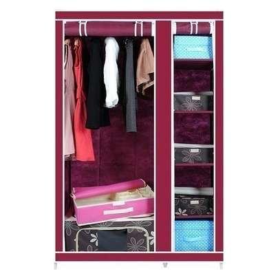 Frame Portable Wardrobe -2 Columns- Wine Red image 1