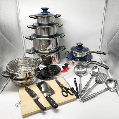 30 Pcs Stainless Steel Non-Stick Cookware Set image 1