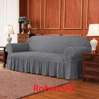 Durable dark grey stretchable sofa cover 7seater image 1