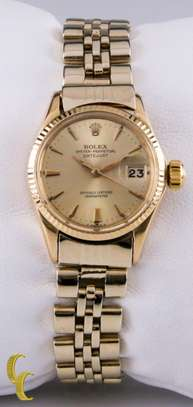 Rolex Womens Oyster Perpetual DateJust 6517 18k Yellow Gold w/ Jubilee Band