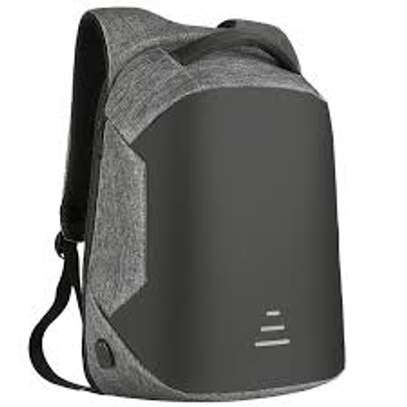 grey antitheft laptop back pack with usb cable image 1