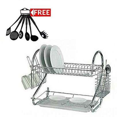 Generic 2 TIER DISH RACKS +a FREE Set Of 6 Non-Stick Cooking Spoons image 1