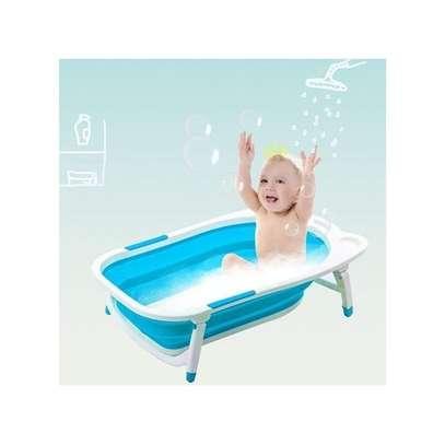 Baby Basin Bath Tub Portable Collapsible Bathing Foldable Shower Infant - Blue image 1