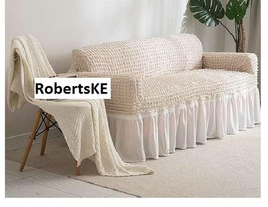 sofa covers 5 seater plain cream image 1