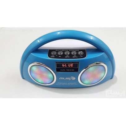 Wireless Stereo Speakers FM, Memory Card,Flashdisk,Photo Mode Bluetooth, USB - Blue image 1