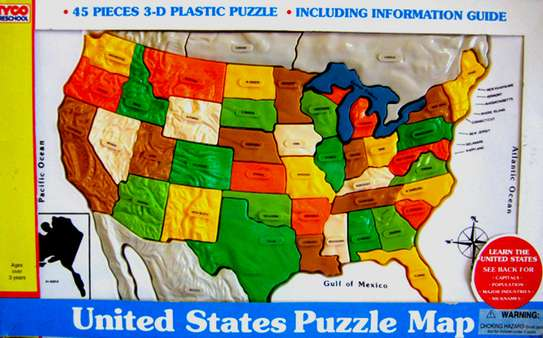 For Sale Quality Toys for Children Tyco Preschool Toys /United States Puzzle Map 45 Pieces Set 3D Plastic Puzzle