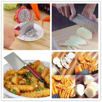 Stainless Steel Vegetable Potato Crinkle Wavy Knife Cutter image 1