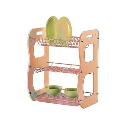 Layer Wooden And Metal Dish Rack Dish Drainer image 1