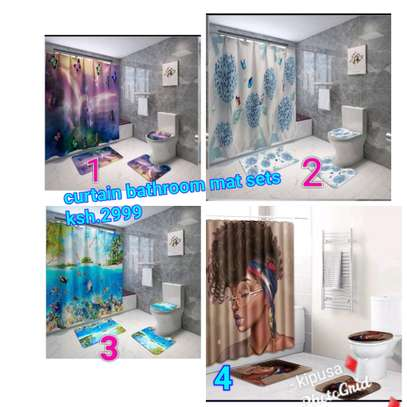 Curtain+bathroom mat sets image 2