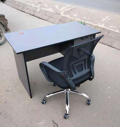 3D office table plus an adjustable office chair black image 1