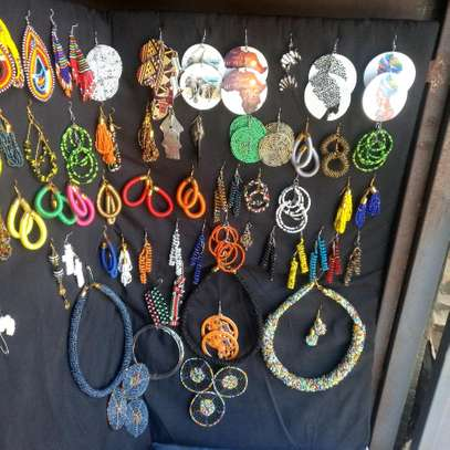 African Earrings and beaded Necklaces