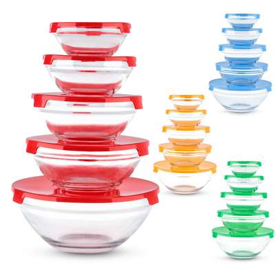Storage Glass Bowls with Lids - Set of 5