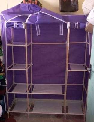 purple portable wooden wardrobe organiser image 4