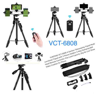 YUNTENG VCT-6808 Multi-functional Tripod for Phone with 3 Phone Holders 4-Section Telescoping Tripod Ball Head Remote Controller image 4