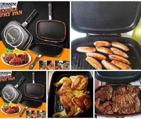 Original double grill pan with apron and spoon