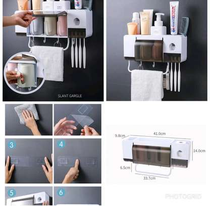 Multi-functional Wall Mount Dust-proof Toothpaste Dispenser/Organizer image 1