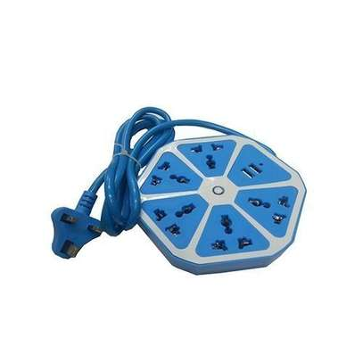 Hexagonal Extension With USB Ports - Blue image 1