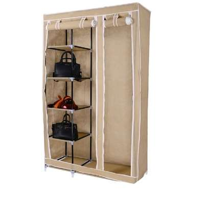 2 Column Portable Wardrobe - 110*46*175cm - Brown
