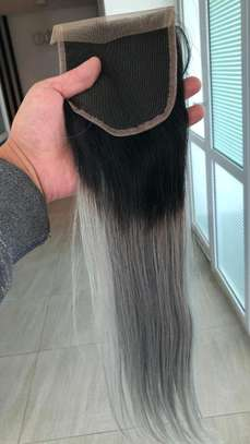 Grey Ombre Human Hair 16 Inches